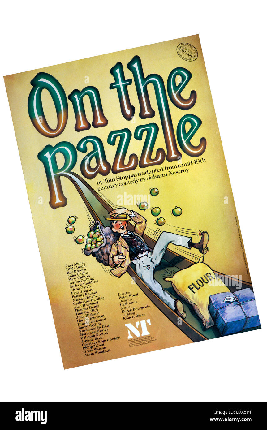 Poster for the 1981 production of On The Razzle by Tom Stoppard, adapted from Johann Nestroy, at the Lyttelton Theatre. - Stock Image