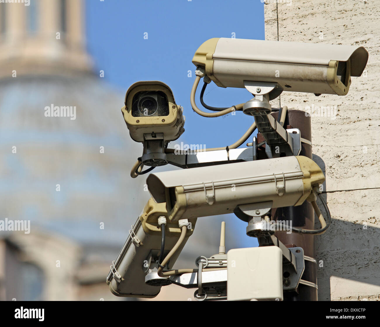 four surveillance camera to see all main points of the great metropolis - Stock Image