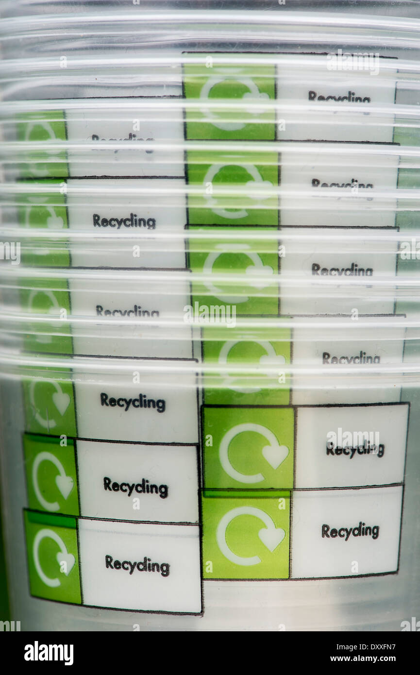 Stack of Plastic recycle cups - Stock Image