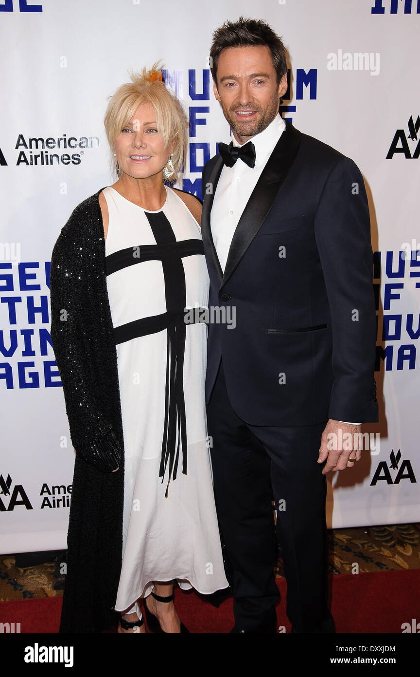 Hugh Jackman Deborra-Lee Furness The Museum Of Moving Images Salute to Hugh Jackman at Cipriani Wall Street Featuring: Hugh Jackman,Deborra-Lee Furness Where: New York City United States When: 11 Dec 2012 - Stock Image