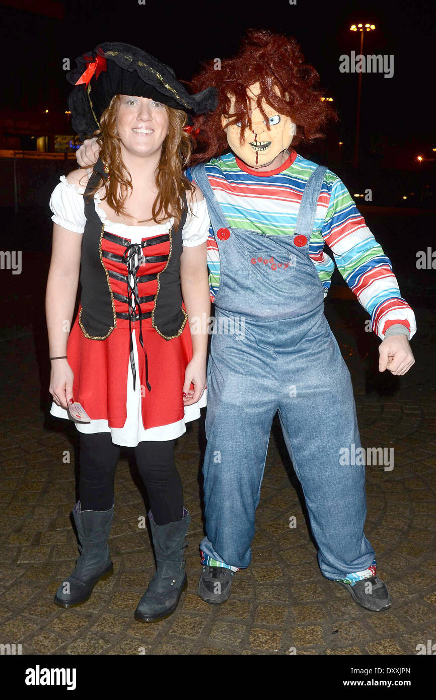 Fans arrive at the Farewell To 2012 Fancy Dress Party at the ...