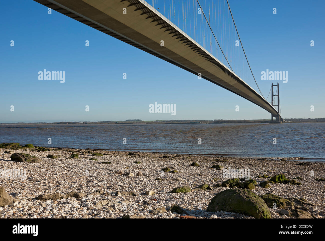 Humber Bridge single span suspension bridge connecting East Yorkshire and North Lincolnshire near Hull East Yorkshire Stock Photo