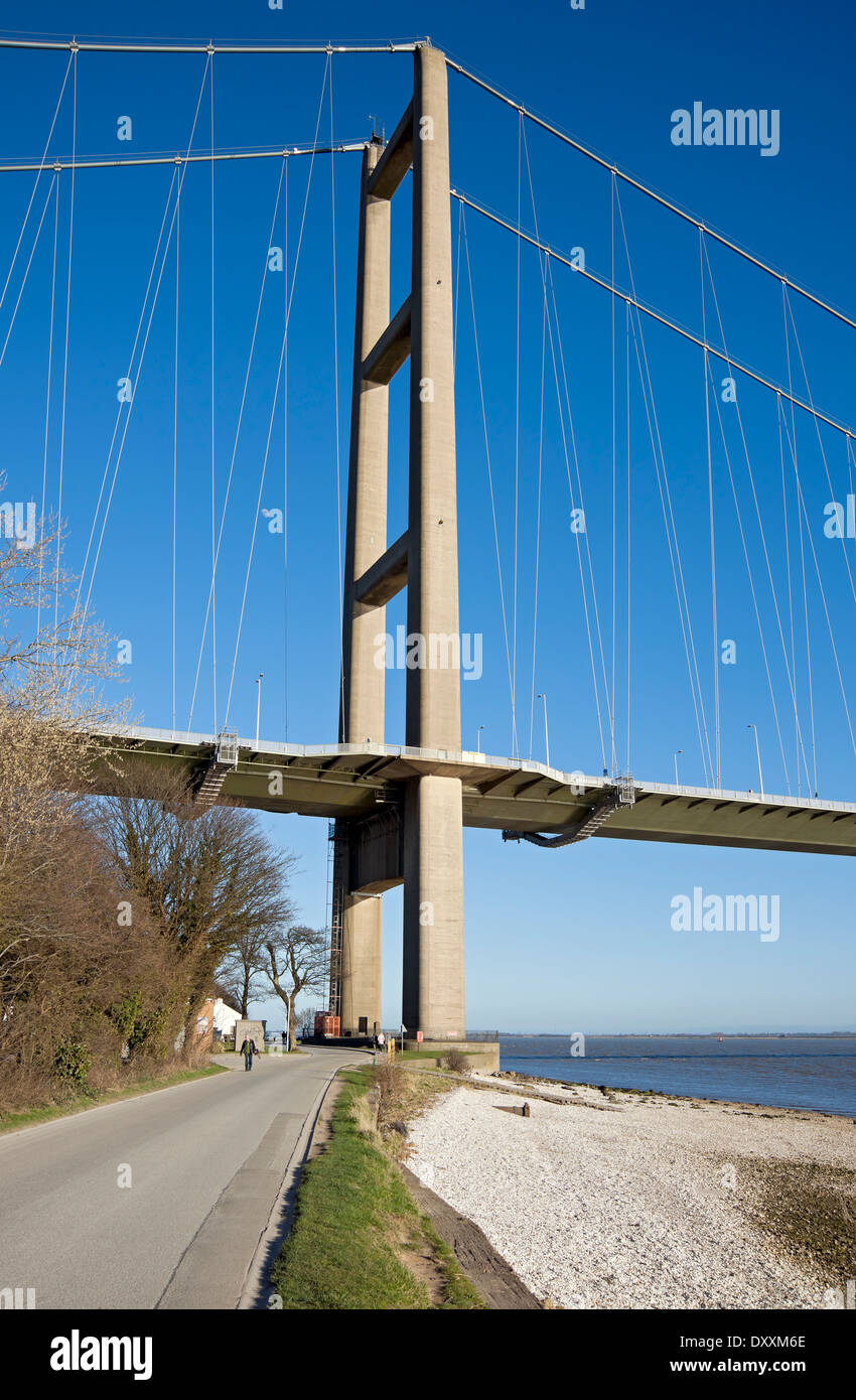 Humber Bridge single span suspension bridge connecting East Yorkshire with North Lincolnshire, near Hull East Yorkshire Stock Photo