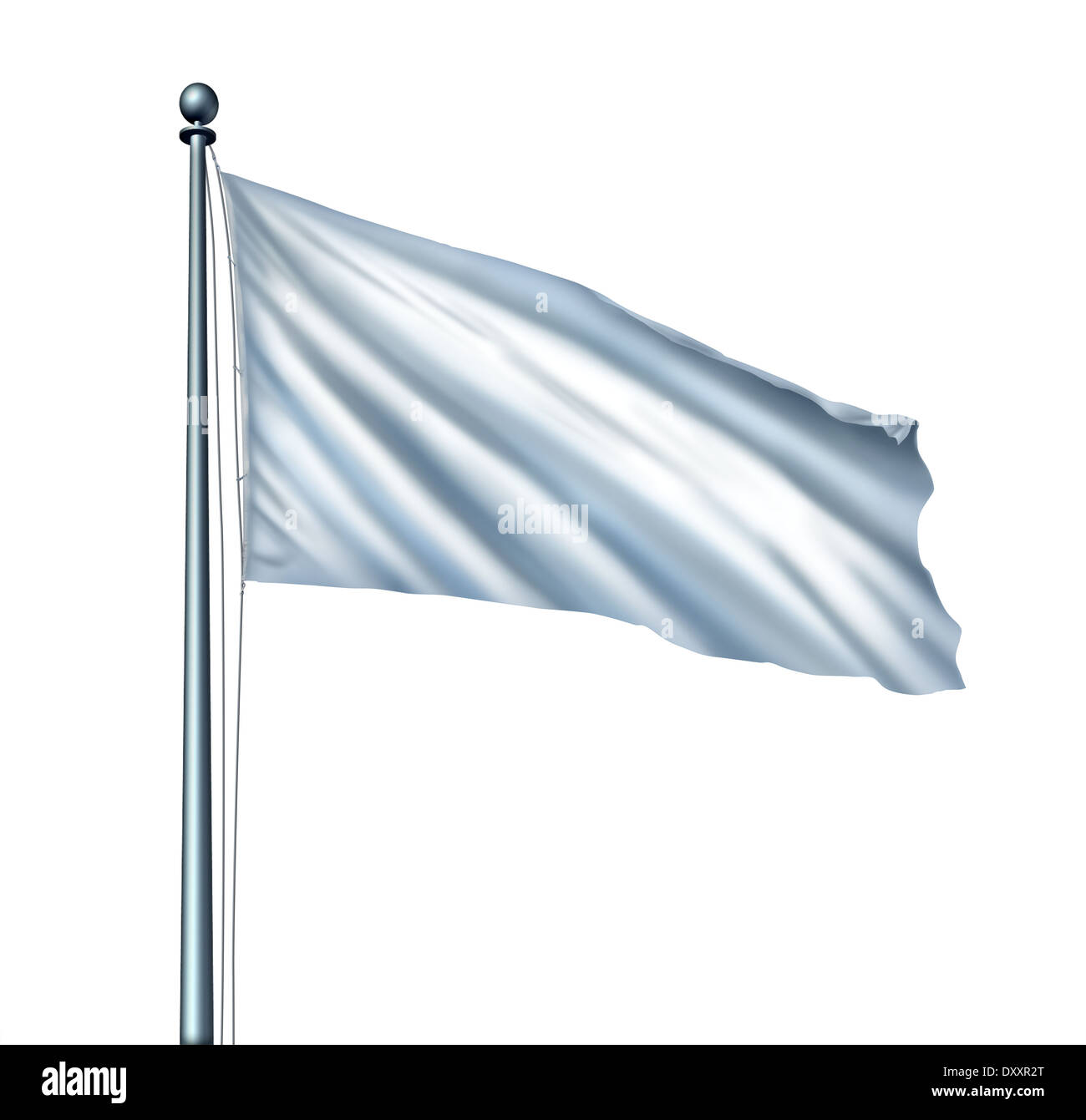 White flag isolated as a surrender symbol and metaphor for