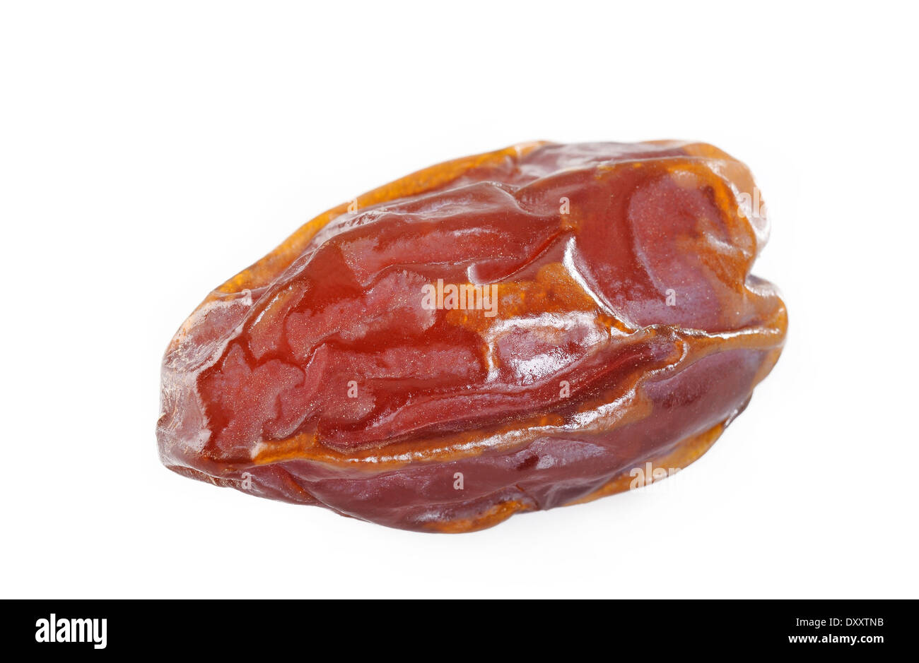 dried date fruit on white background - Stock Image