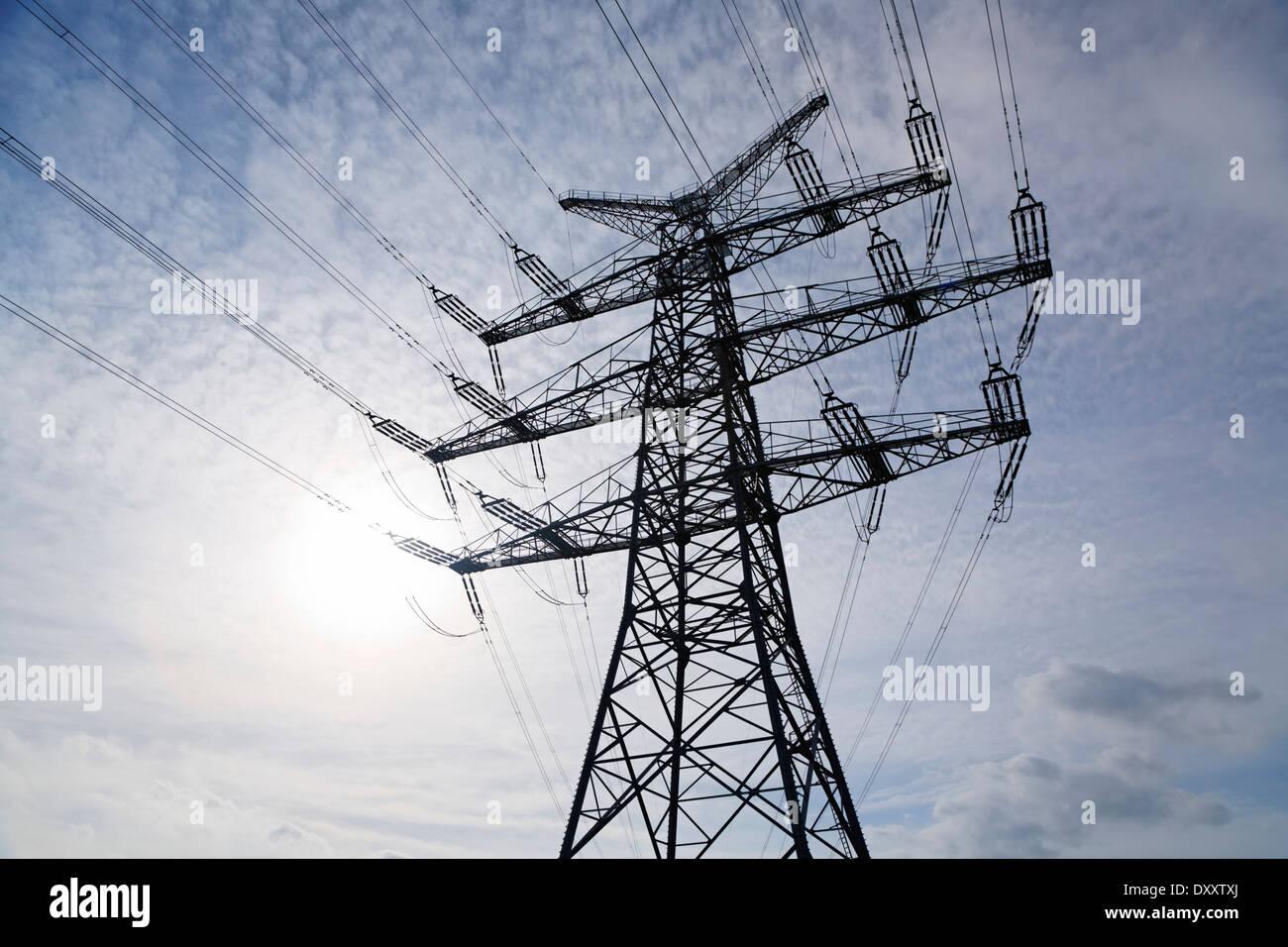 Germany, electricity pylons, power lines, Deutschland, Strommasten, Hochspannungsleitungen Stock Photo