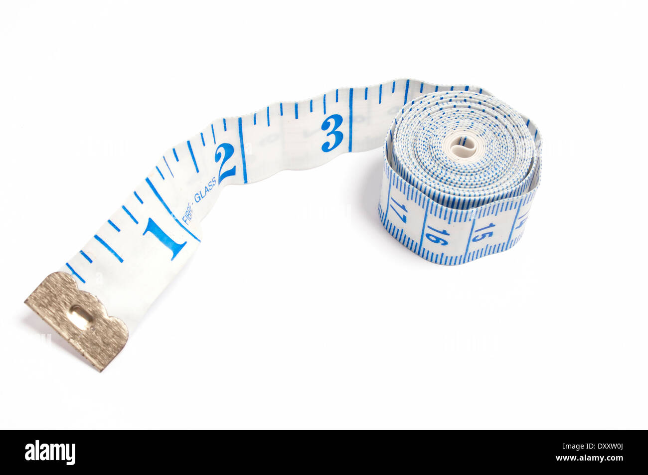 Close up of inches on tape measure - Stock Image