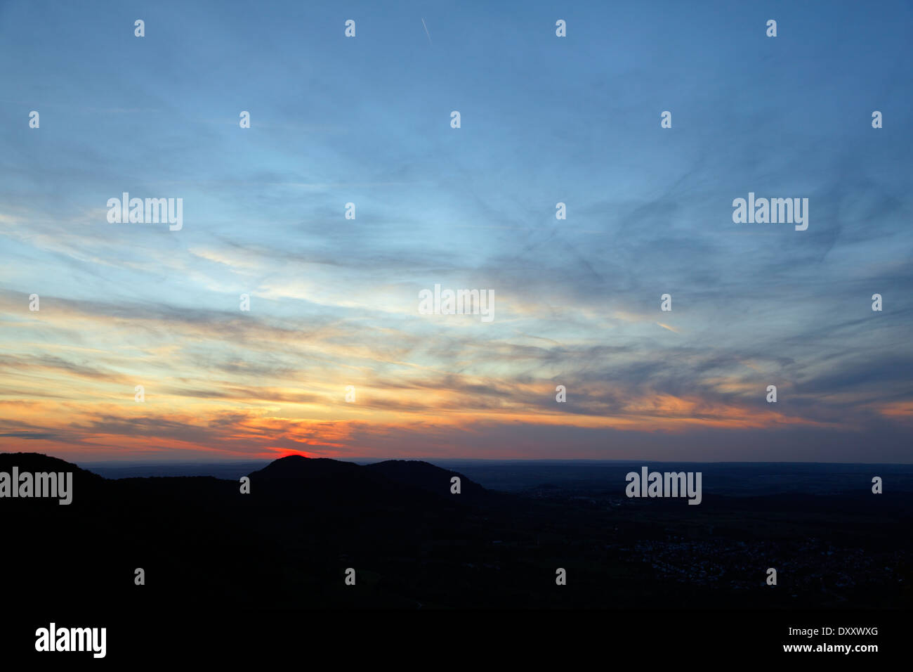 Germany, Baden-Wurttemberg, Swabian Alb (UNESCO Biosphere Reserve), near Neuffen, Sunset, viewpoint - Stock Image