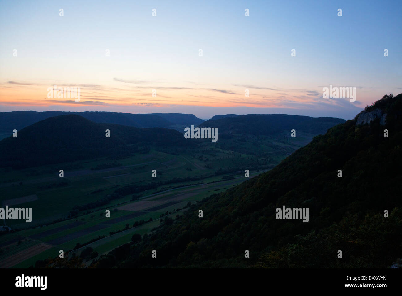Germany, Baden-Wurttemberg, Swabian Alb, near Geislingen, view from 'Hausener rock' - Stock Image