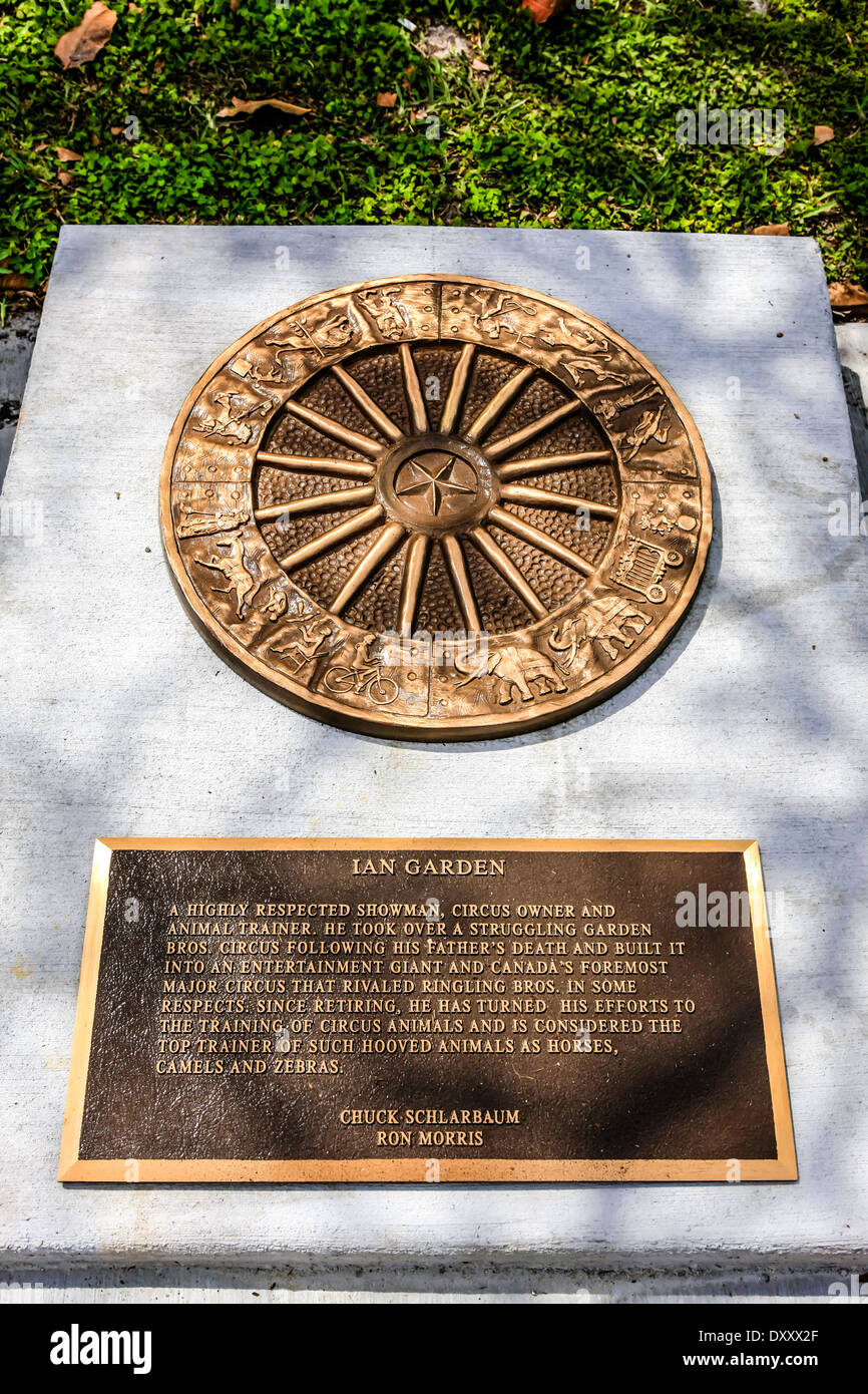 Dedication plaque to an entertainer from the circus world at St. Armands Circile, Sarasota FL Stock Photo