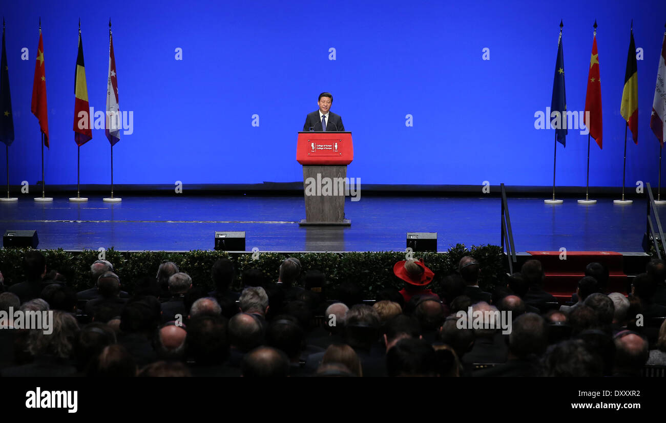 Brussels, Belgium. 1st Apr, 2014. Chinese President Xi Jinping delivers a keynote speech at the College of Europe in Bruges, Belgium, April 1, 2014. © Ma Zhancheng/Xinhua/Alamy Live News - Stock Image