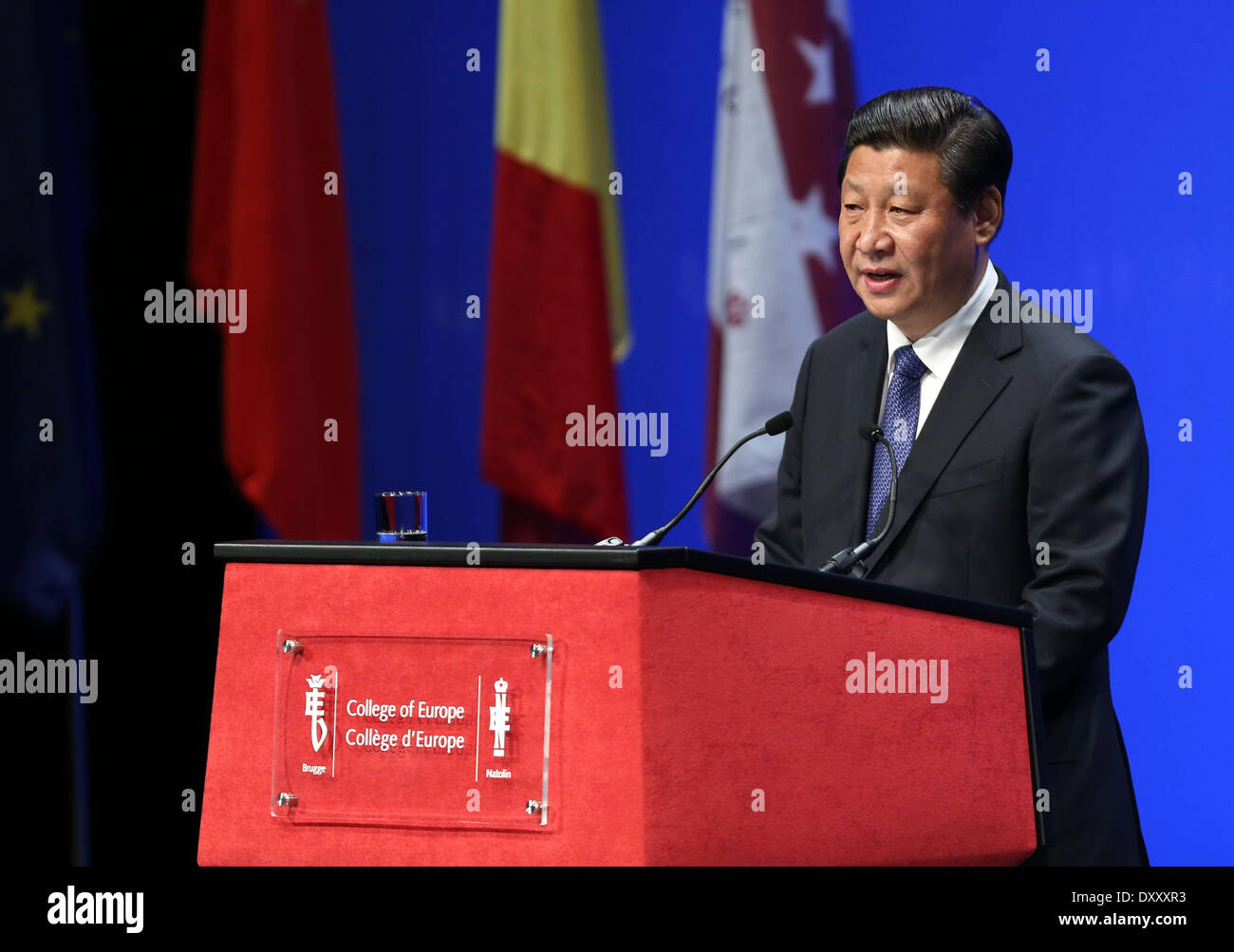Brussels, Belgium. 1st Apr, 2014. Chinese President Xi Jinping delivers a keynote speech at the College of Europe in Bruges, Belgium, April 1, 2014. © Pang Xinglei/Xinhua/Alamy Live News - Stock Image