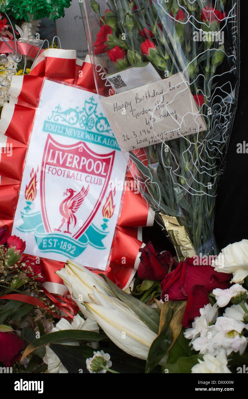 Tributes for the 96 fans and Gordon Horn who died at Hillsborough aged 20, Hillsborough Memorial, Anfield Stadium Liverpool UK - Stock Image
