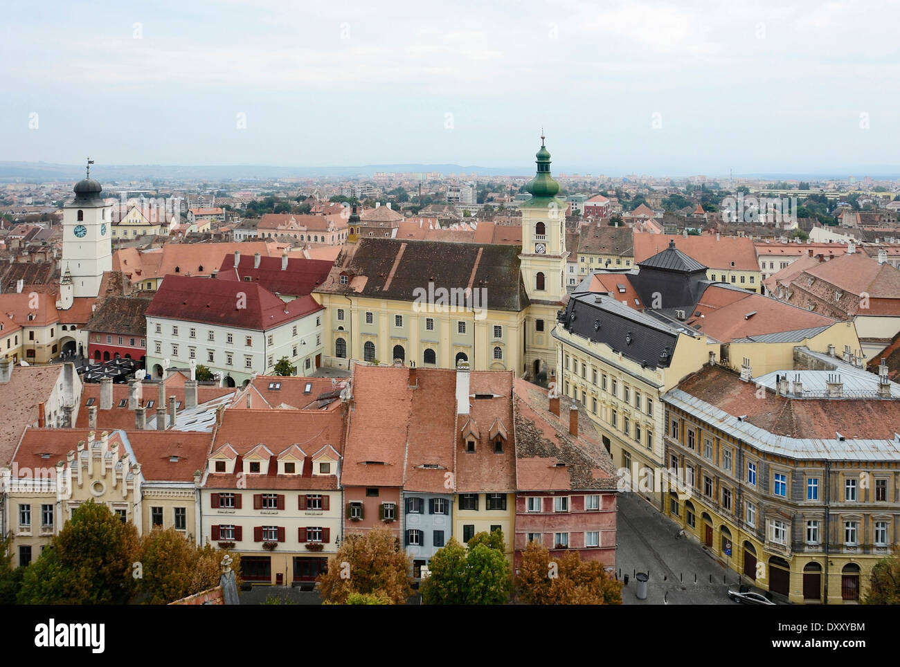 aerial view of Sibiu, a city in Romania - Stock Image