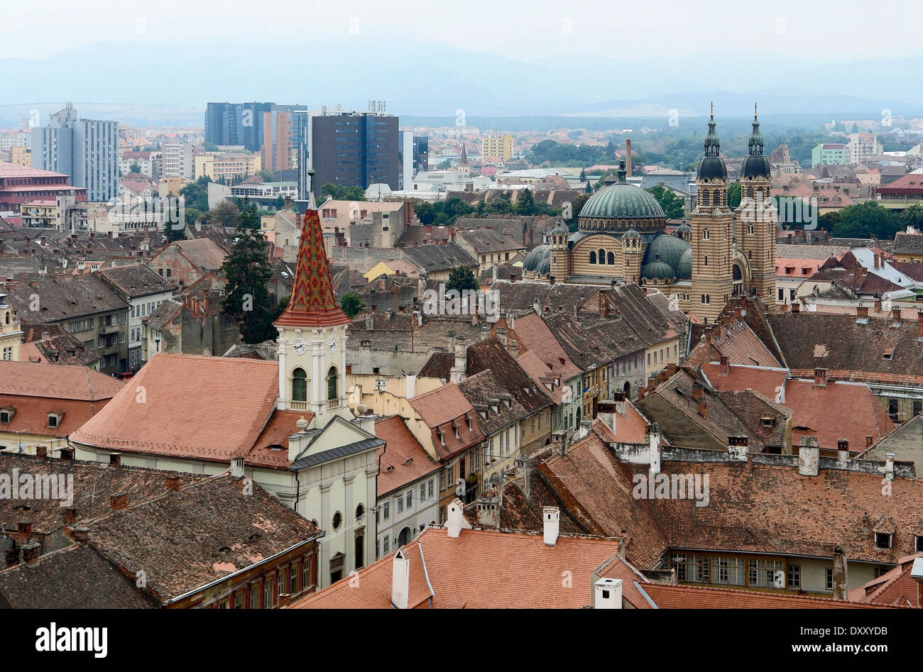 aerial view of Sibiu, a city in Romania Stock Photo