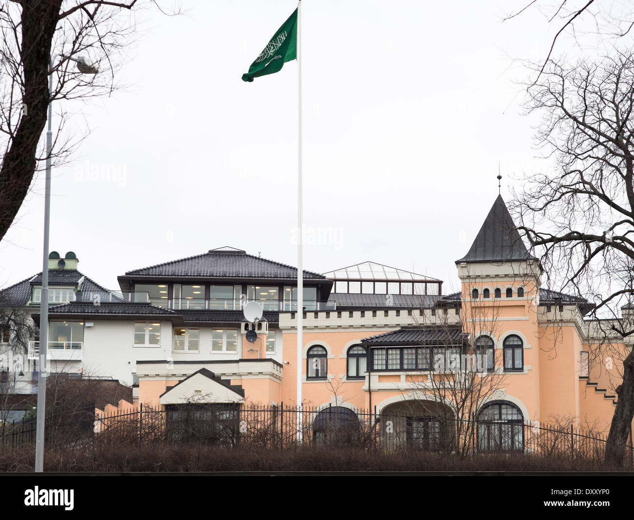 Building and flag of the Embassy of the Kingdom of Saudi Arabia in Oslo Norway - Stock Image