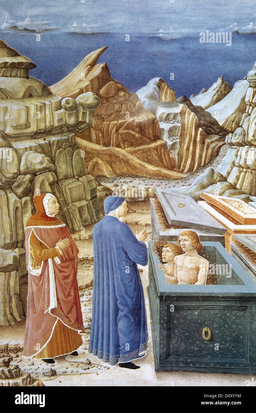 The Divine Comedy by Dante (1265-1321). Dante and Virgil in Hell with  Farinata degli Uberti and Cavalcante de Cavalcanti.