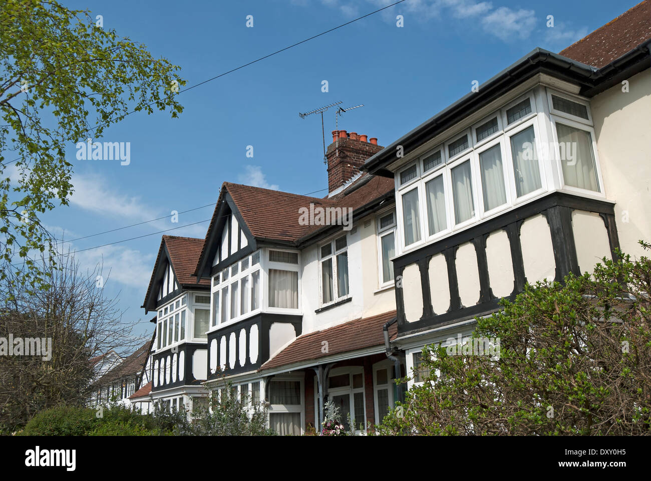terraced houses with mock tudor features in teddington, middlesex, england - Stock Image