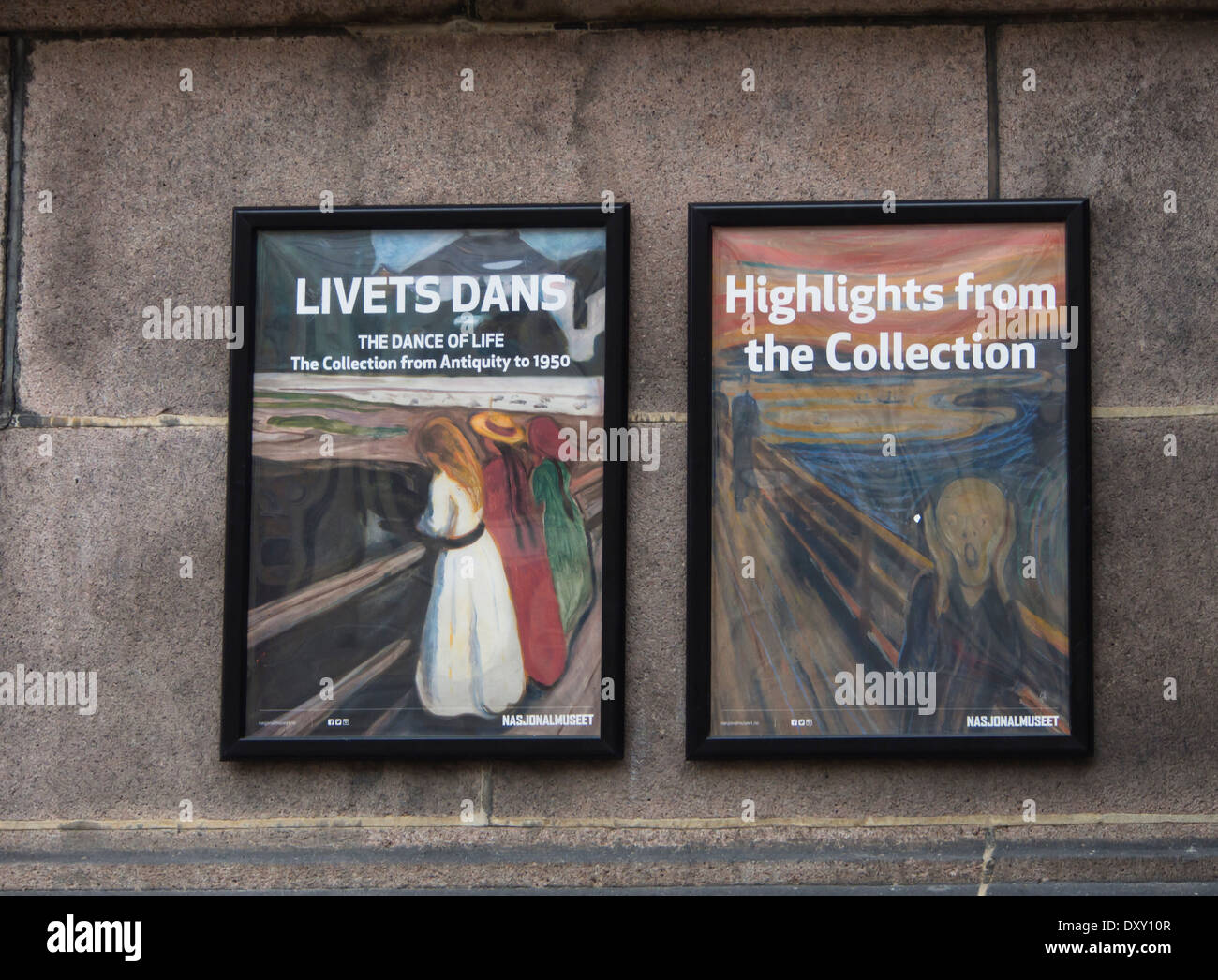 The Norwegian National museum and  gallery in Oslo Norway, posters from two recent Edvard Munch exhibitions - Stock Image