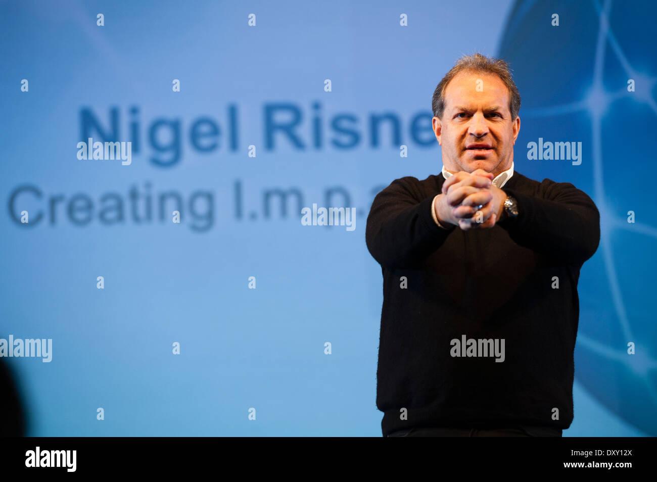 Motivational speaker and serial entrepreneur NIGEL RISNER at a business networking conference event UK - Stock Image