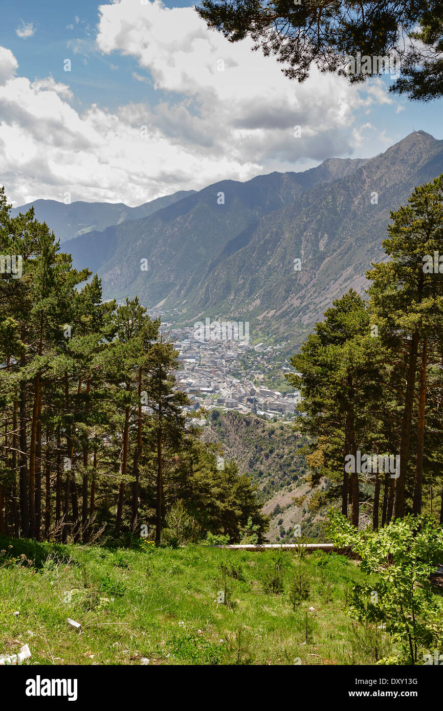 Andorra la Vella seen from a distance - Stock Image