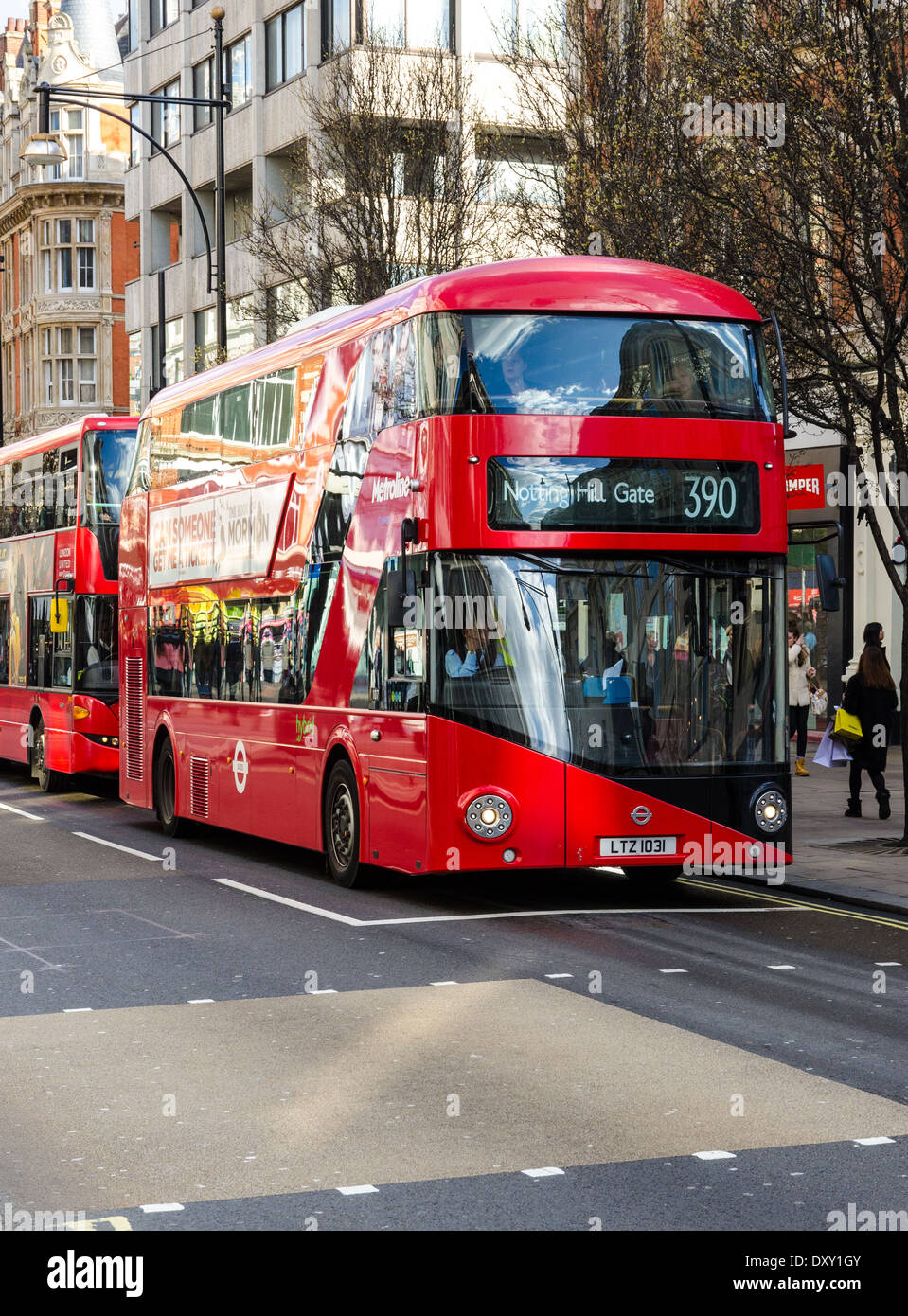 New Routemaster on Oxford Street, London - Stock Image