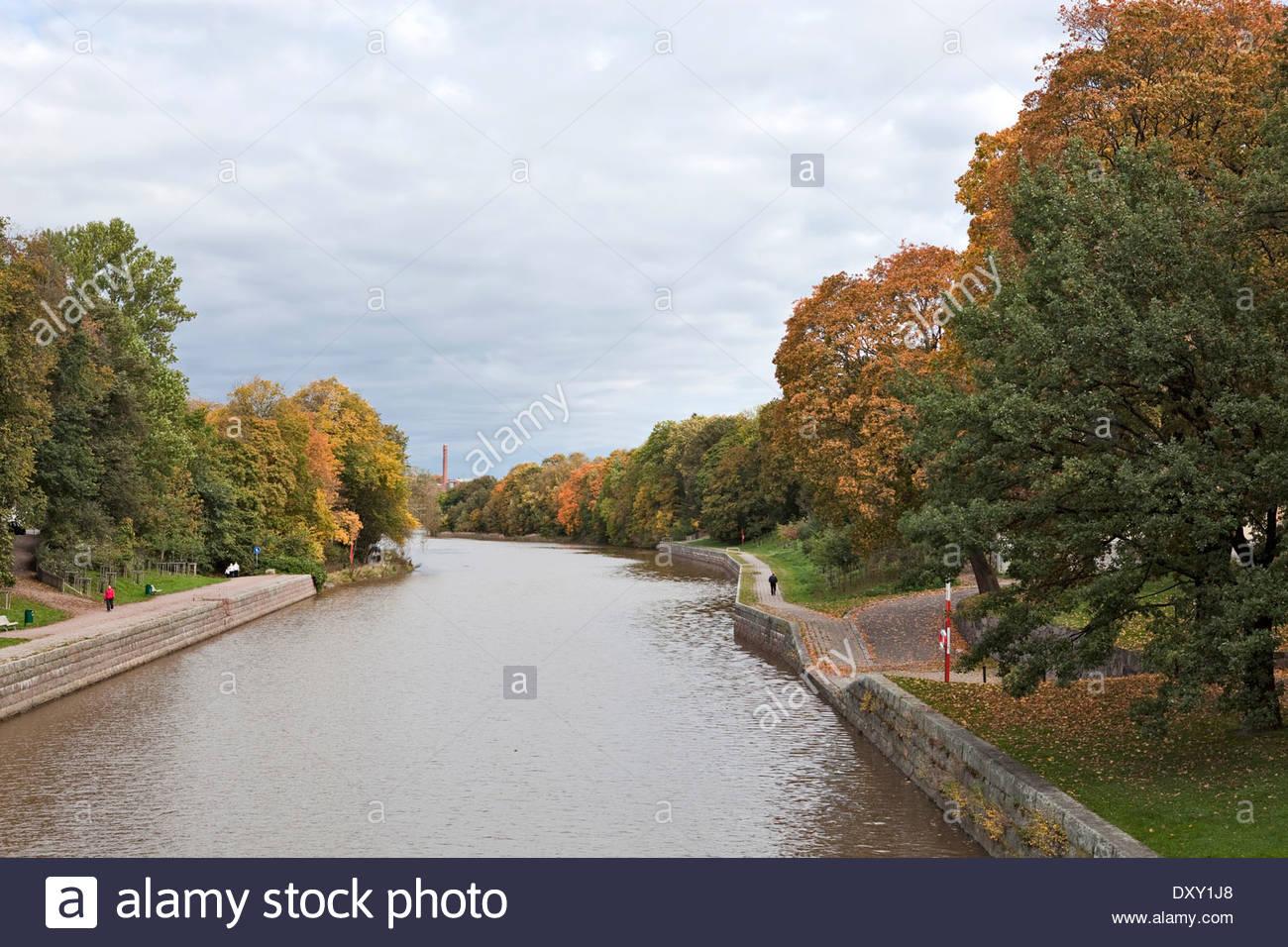 River Aura in autumn - Stock Image