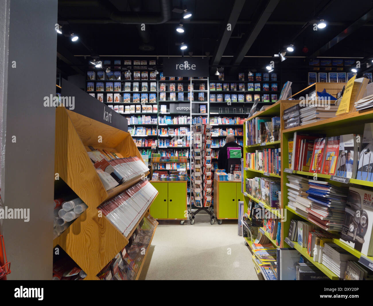 Norway has a good selection of bookshops with many languages represented, here the  travel section at Tanum Oslo - Stock Image