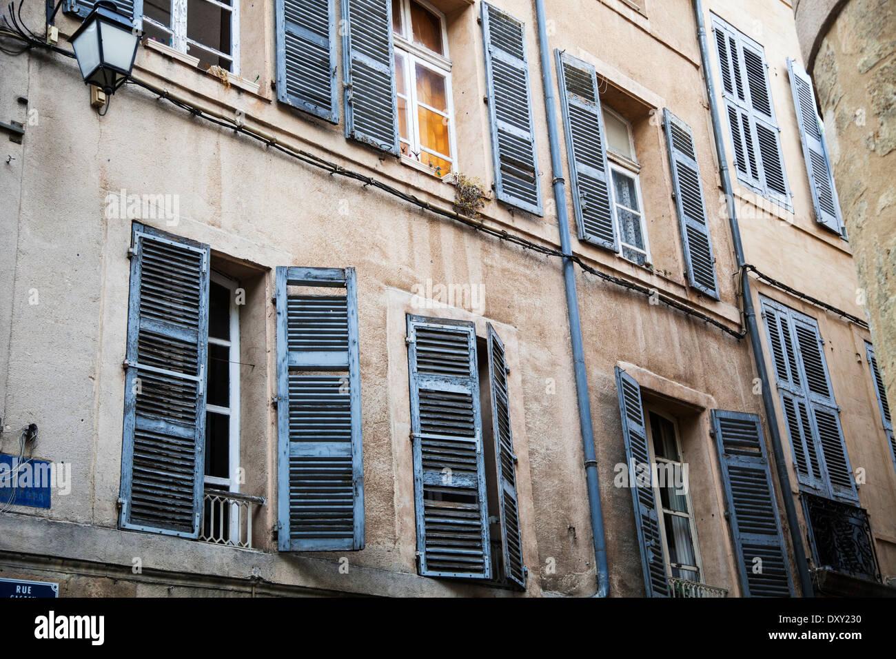 Blue shuttered windows in Aix en Provence - Stock Image