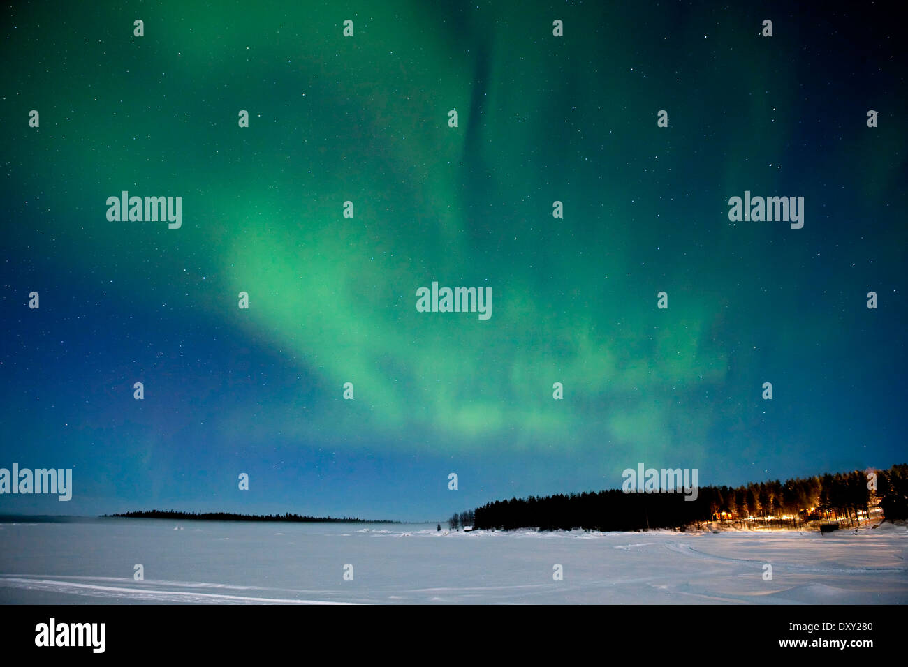 Northern Lights, Aurora Borealis, White Sea, Karelia, Russia - Stock Image