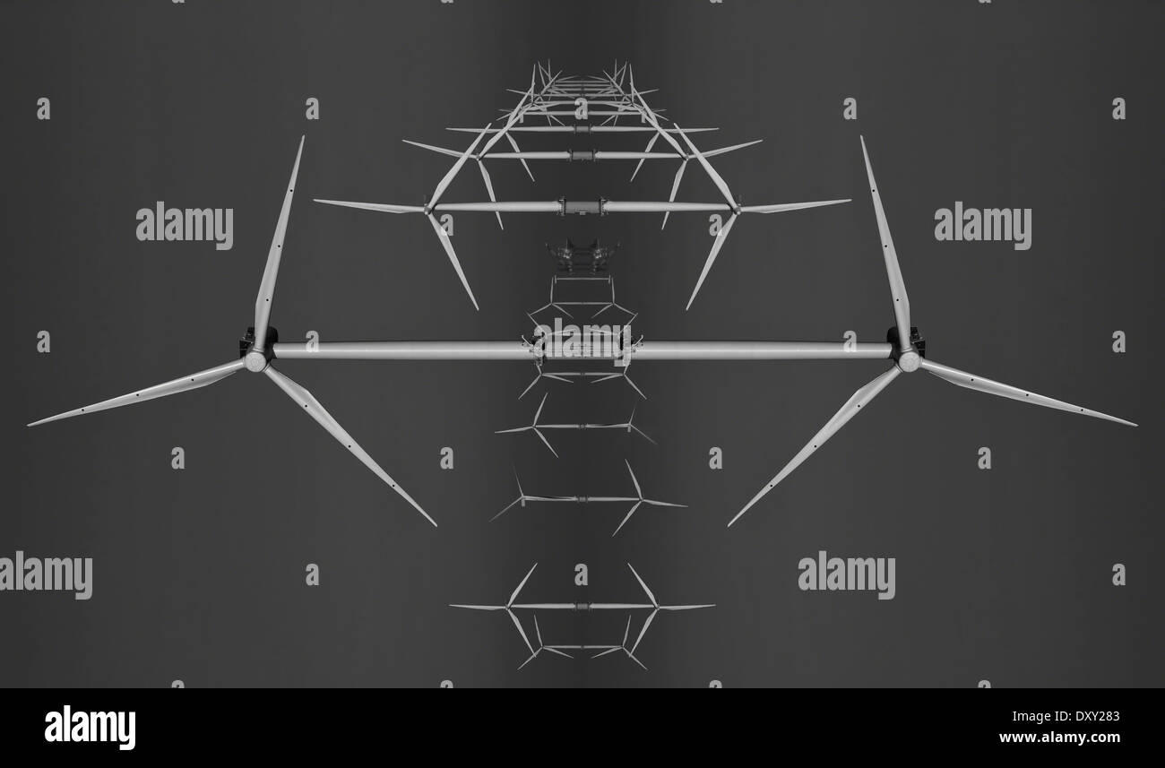 Abstract image of wind turbines (mirror image, black and white) - Stock Image