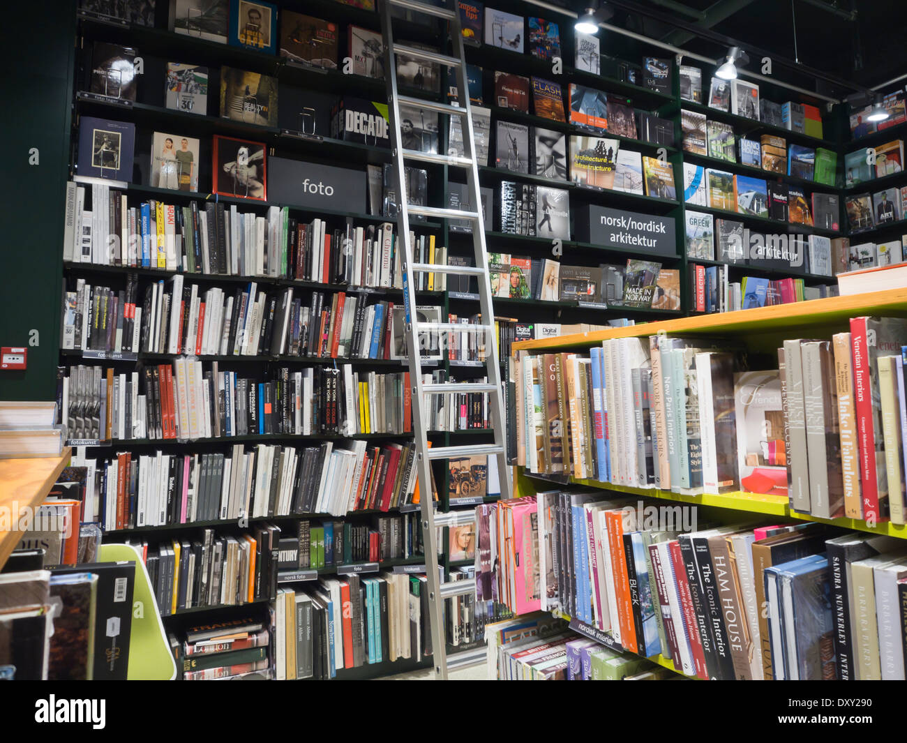 Norway has a good selection of bookshops with many languages represented, here the photo and architecture section at Tanum Oslo - Stock Image