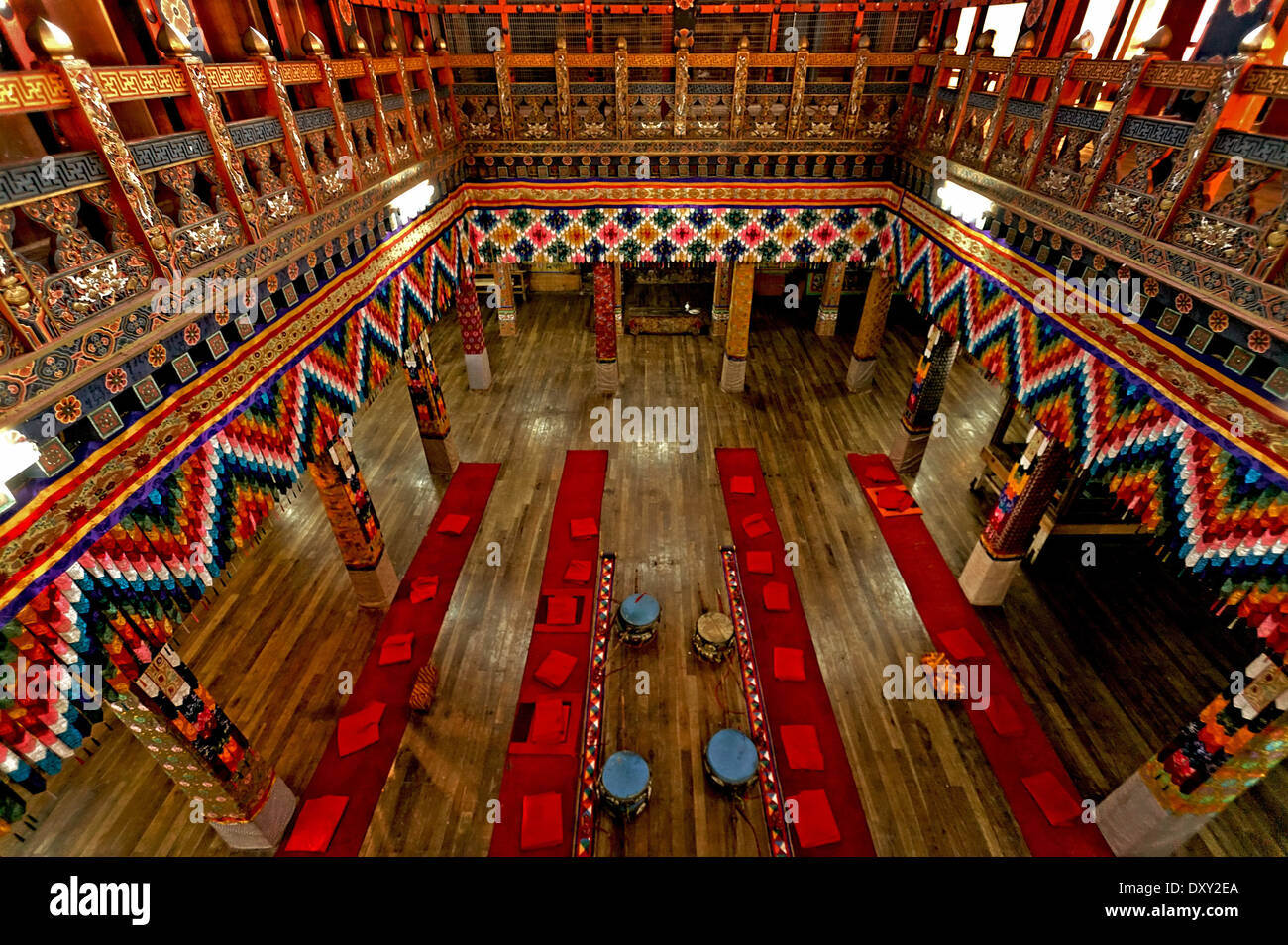 Prayer hall in Punakha Dzong (temple). Digitally Manipulated Image. Stylised by sharpening and enhancing color. - Stock Image