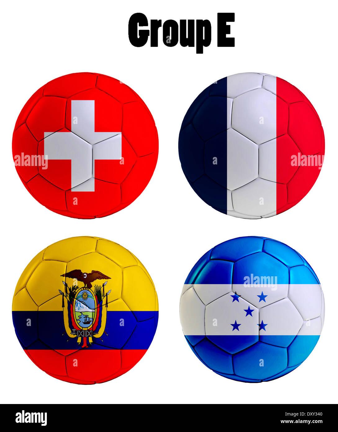 Football Championship 2014. in Brazil. Groups E,Switzerland, Ecuador, France, Honduras. 3d soccer ball design. Stock Photo