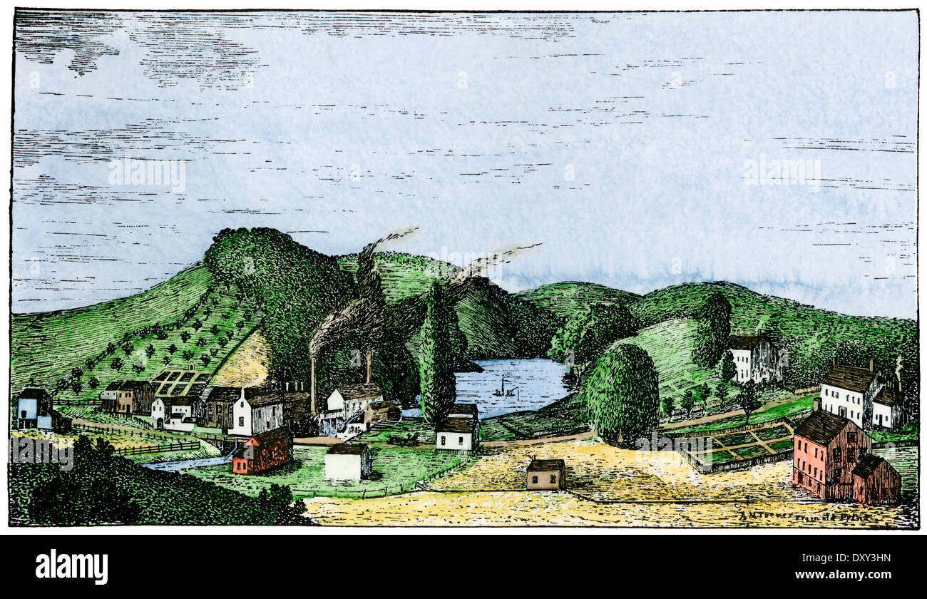 Speedwell Ironworks, site of first public telegraph demonstration, Morristown, New Jersey, 1830s. Hand-colored woodcut - Stock Image