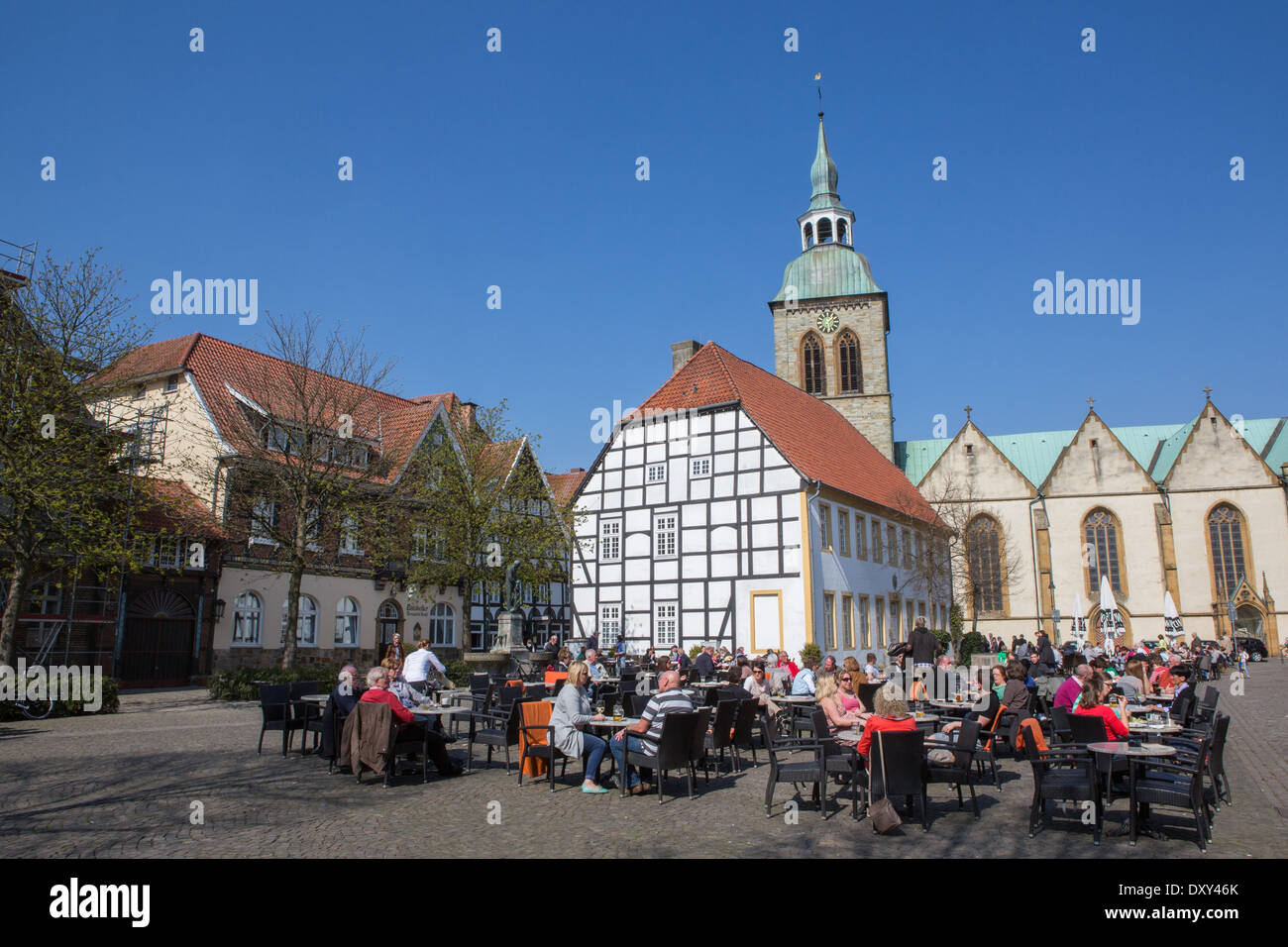 Town square in the German town of Wiedenbrück, Nordrhein Westfalen, Germany - Stock Image