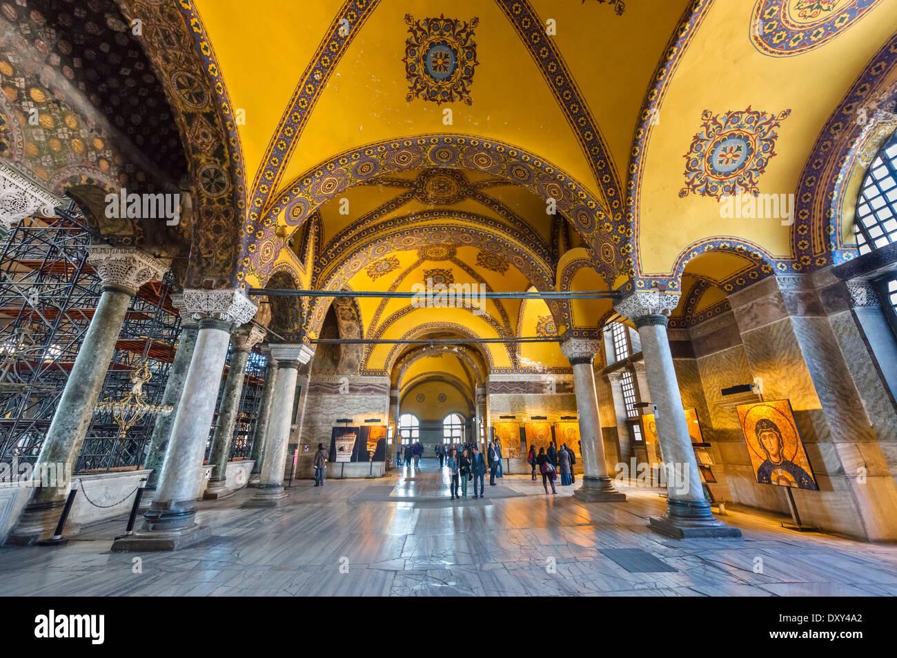 The Upper North Gallery in Hagia Sophia (Aya Sofya), Sultanahmet district, Istanbul,Turkey Stock Photo
