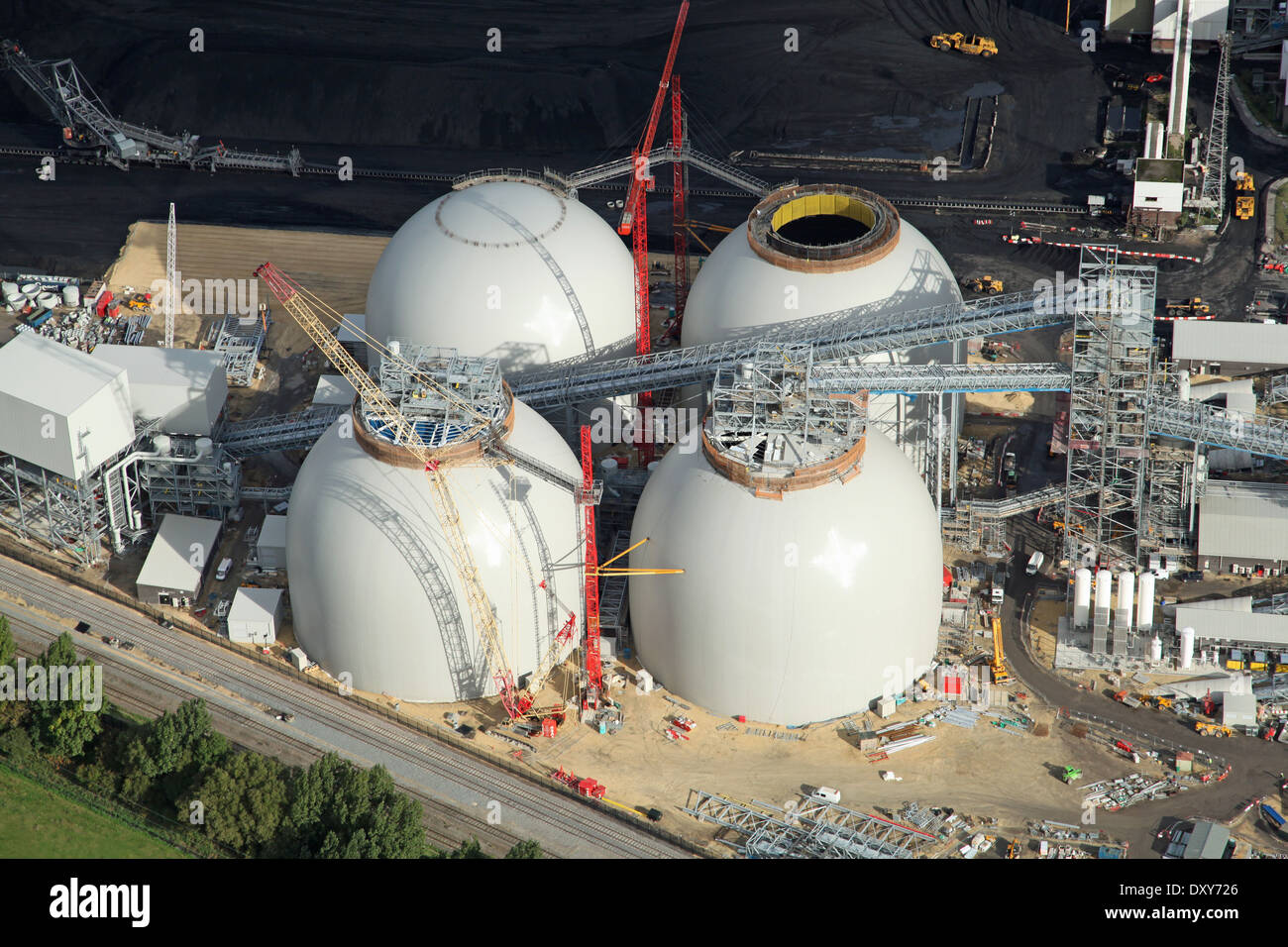aerial view of the new biomass energy producing power station at Drax, North Yorkshire - Stock Image