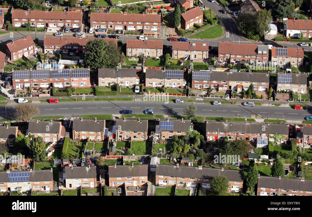 aerial view of modern and older council housing with solar panels on the roof - Stock Image