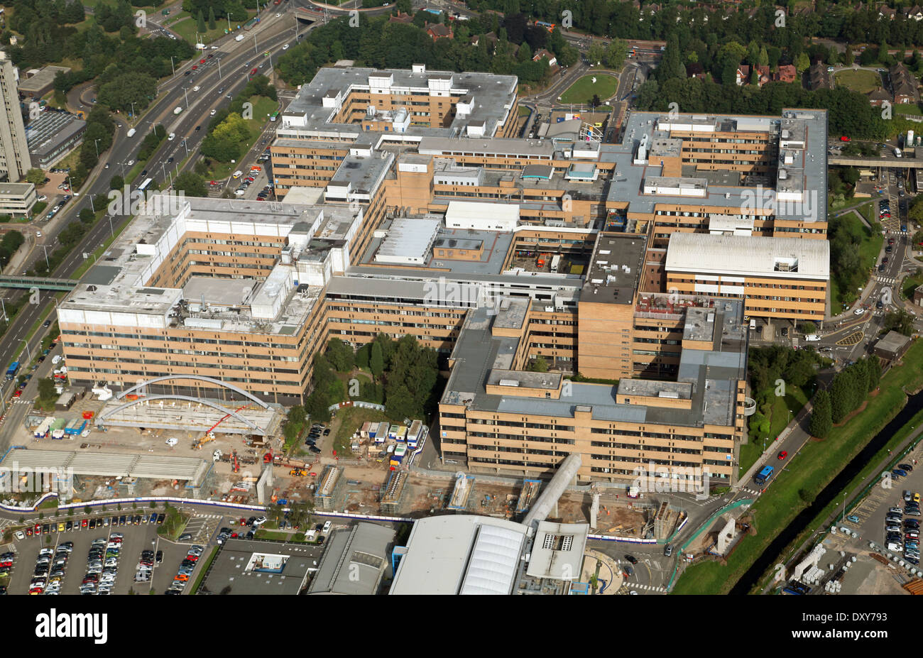 aerial view of The Queens Medical Centre at The University of Nottingham - Stock Image