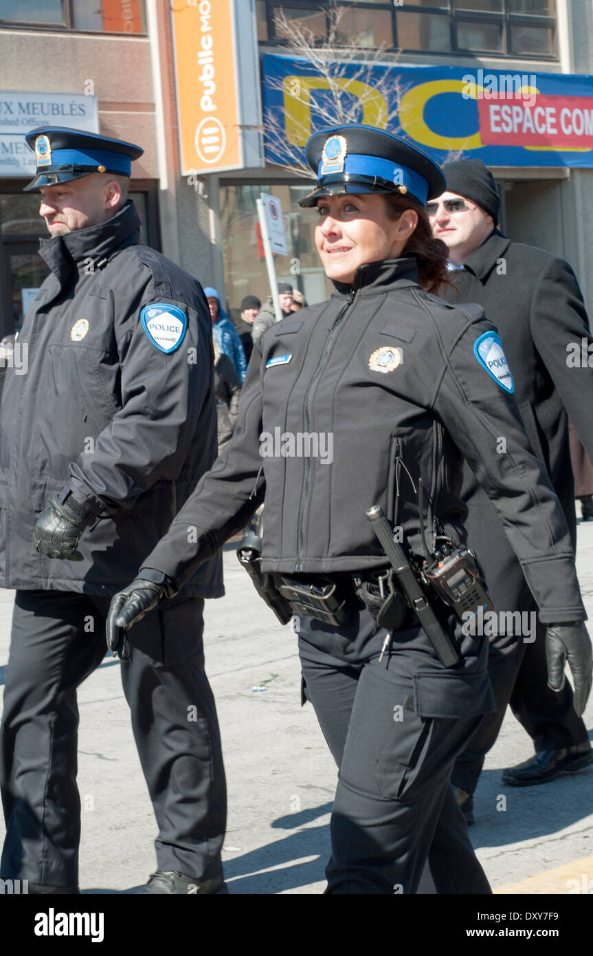 Woman police officer from Greek origin during annual parade commemorating Greece Independence Day Montreal Canada - Stock Image