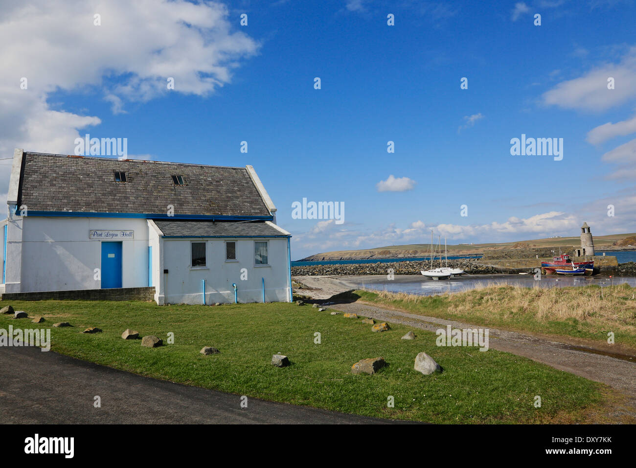 Port Logan Village Hall and Post Office, Port Logan, 'The Rhines' Dumfries and Galloway, Scotland - Stock Image