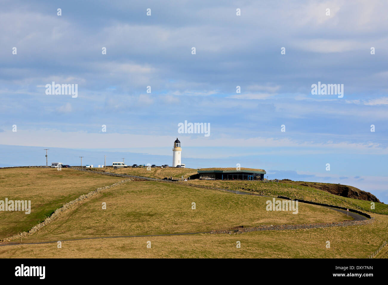 Mull of Galloway, the most southerly point in Scotland with the Mull of Galloway Lighthouse in the distance - Stock Image