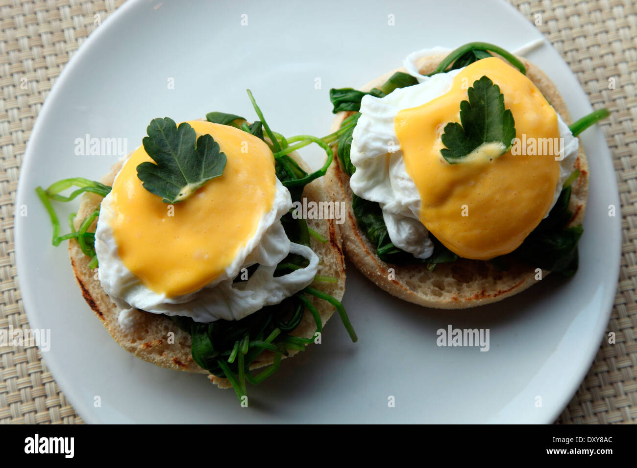 Eggs Florentine, poached eggs on spinach with bechamel sauce - Stock Image