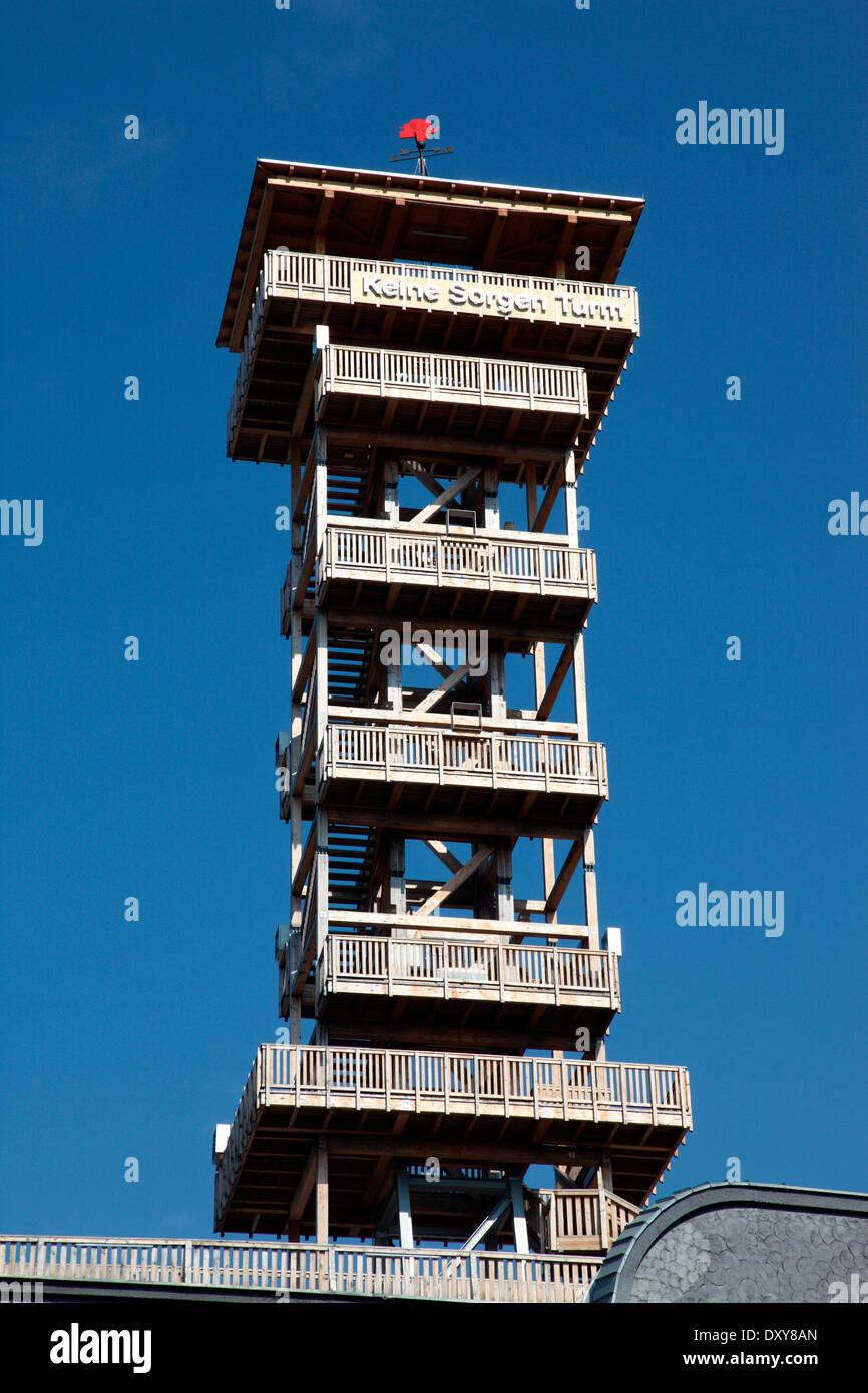 No Worries Tower, Keine Sorgen Turm, in Linz, Austria - Stock Image