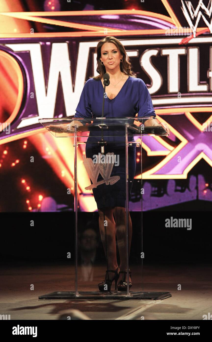 New York, NY, USA. 1st Apr, 2014. Stephanie McMahon at the press conference for WRESTLEMANIA 30 Press Conference, - Stock Image