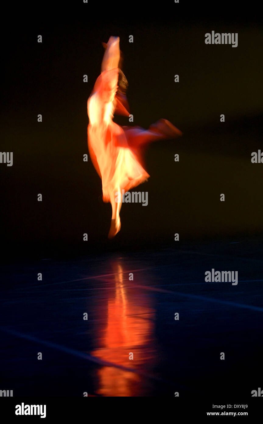 Dancer jump in the air, Blurred Motion - Stock Image
