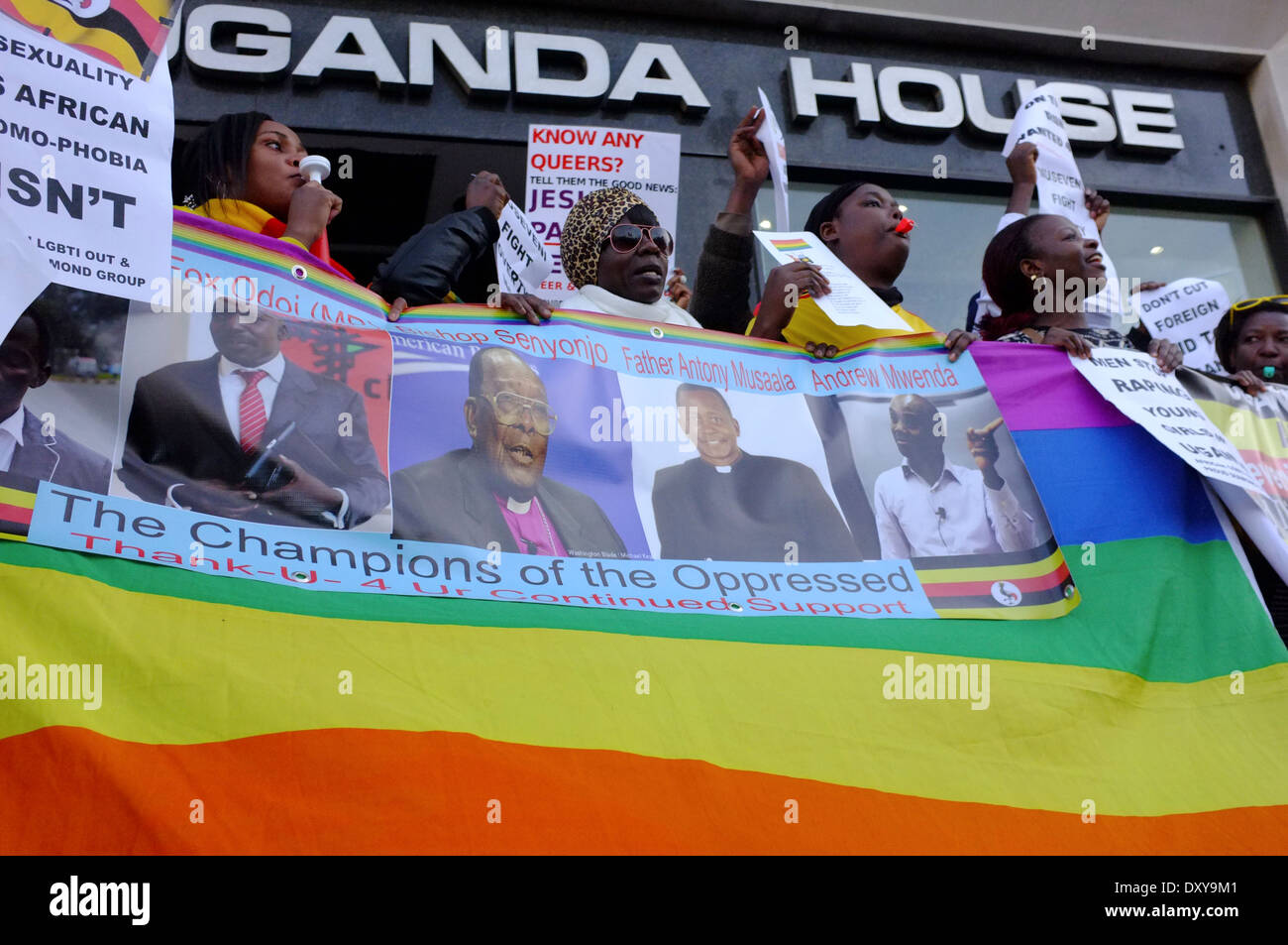 Gay Rights demonstrates outside Uganda House, Trafalgar Square, London - Stock Image