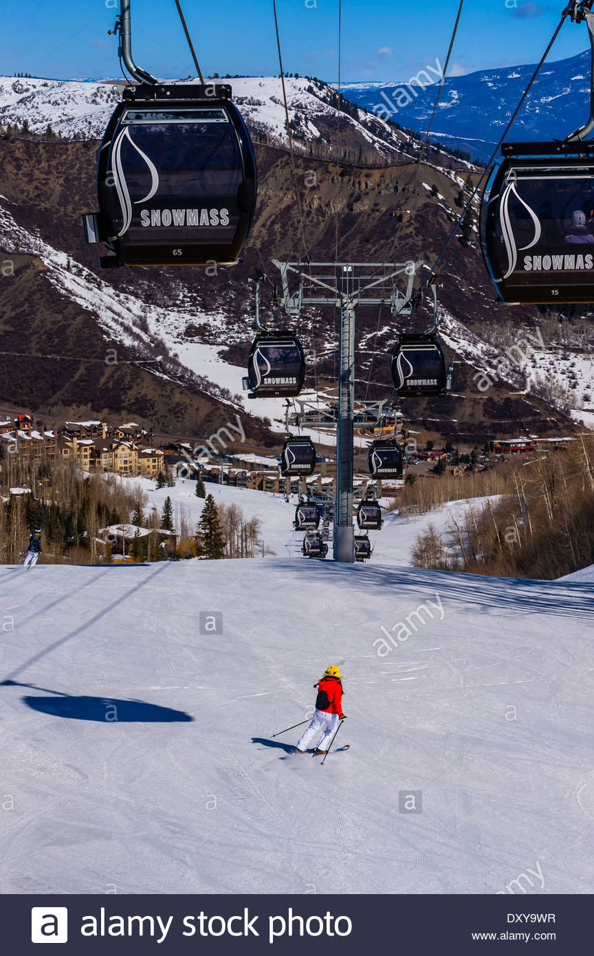 elk camp gondola, snowmass (aspen) ski resort, colorado usa stock