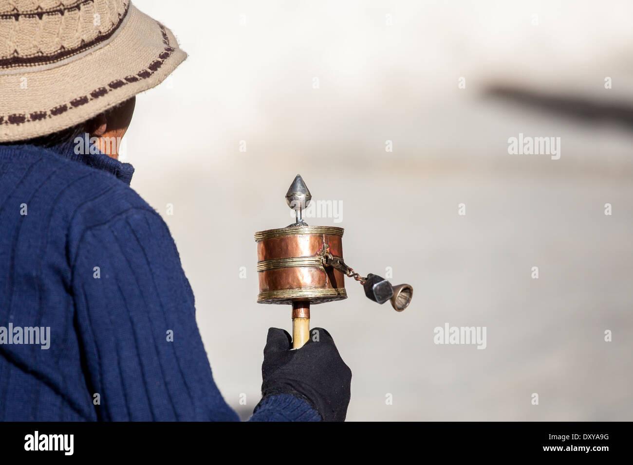 Tibet, prayer wheel - Stock Image